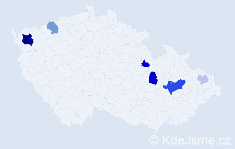 Příjmení: 'Deak', počet výskytů 10 v celé ČR