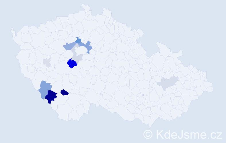 Příjmení: 'Huřík', počet výskytů 20 v celé ČR