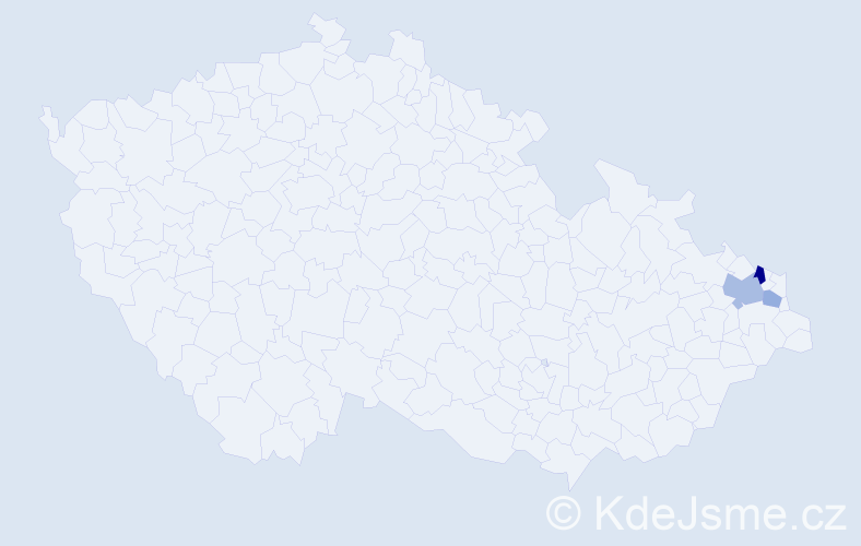 Příjmení: 'Czaniková', počet výskytů 5 v celé ČR