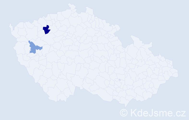 Příjmení: 'Kedl', počet výskytů 3 v celé ČR
