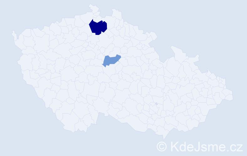 Příjmení: 'Ilutan', počet výskytů 4 v celé ČR