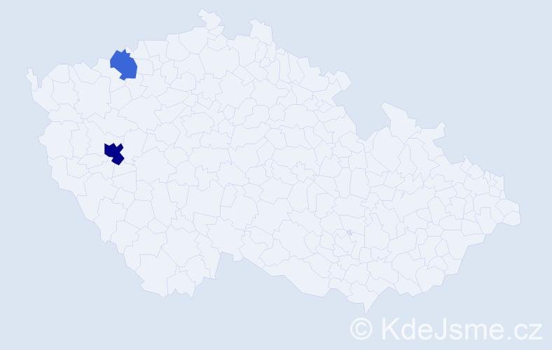 Příjmení: 'Kalčeva', počet výskytů 4 v celé ČR