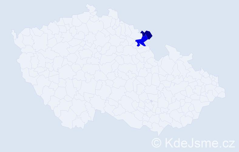 Příjmení: 'Kanozsay', počet výskytů 4 v celé ČR