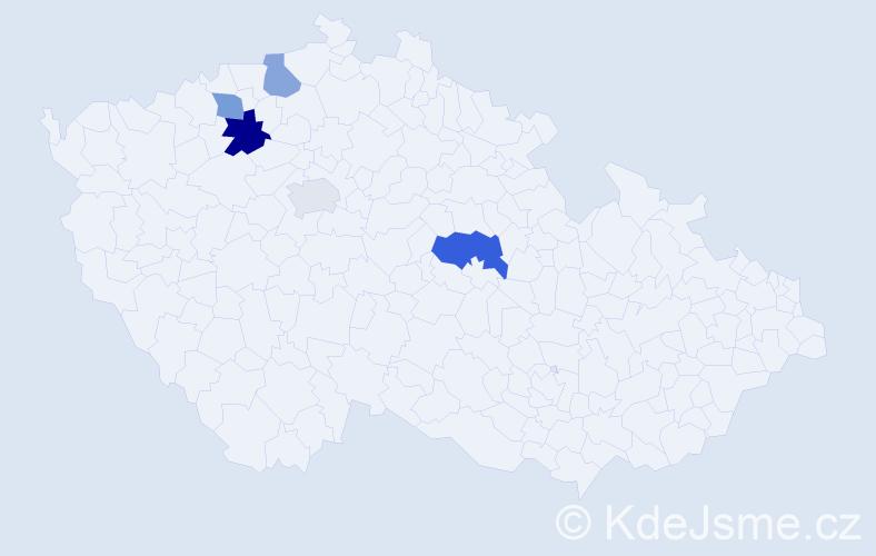 Příjmení: 'Diák', počet výskytů 7 v celé ČR