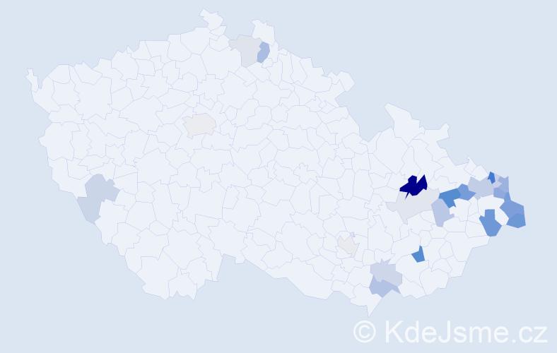 Příjmení: 'Chlebík', počet výskytů 53 v celé ČR