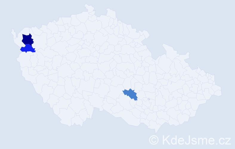 Příjmení: 'Knorek', počet výskytů 6 v celé ČR