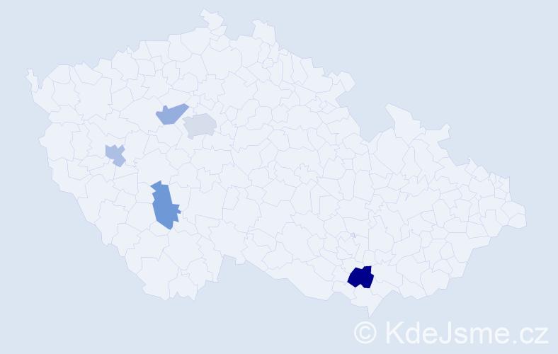 Příjmení: 'Jakim', počet výskytů 7 v celé ČR