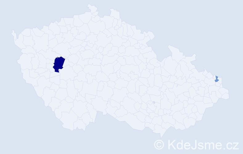 Příjmení: 'Dziká', počet výskytů 4 v celé ČR