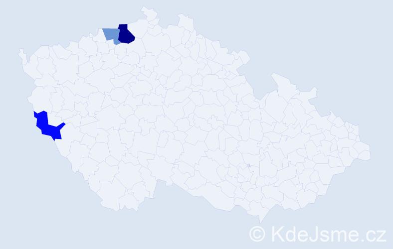 Příjmení: 'Baftijarová', počet výskytů 5 v celé ČR