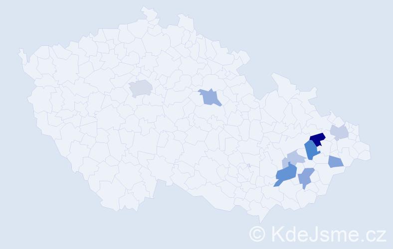 Příjmení: 'Fekar', počet výskytů 19 v celé ČR