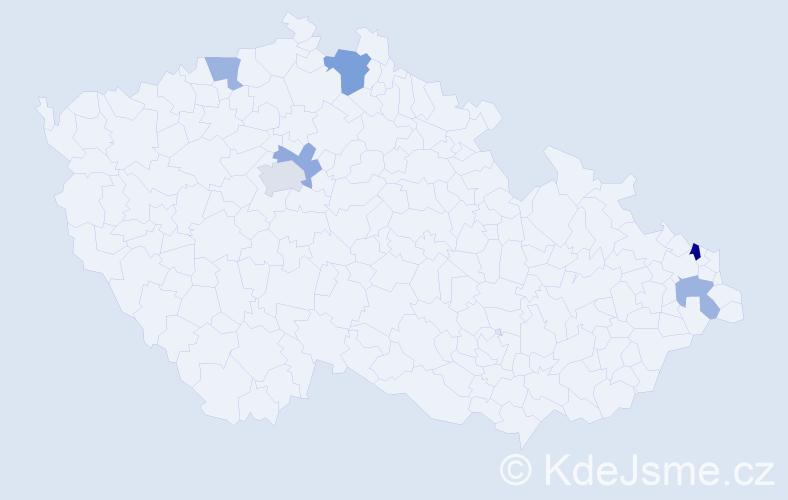 Příjmení: 'Čalfa', počet výskytů 9 v celé ČR