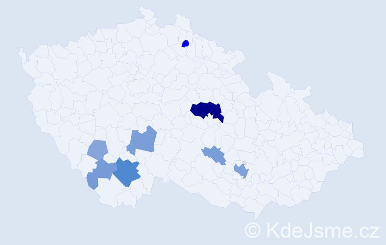 Příjmení: 'Fackenbergová', počet výskytů 24 v celé ČR