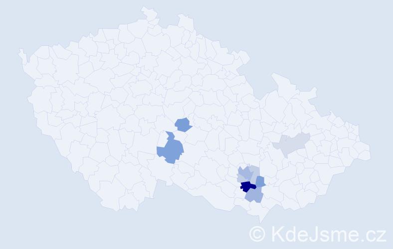 Příjmení: 'Lajkebová', počet výskytů 18 v celé ČR