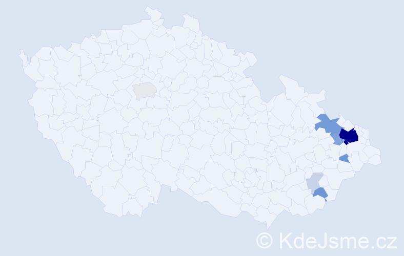 Příjmení: 'Honajzrová', počet výskytů 40 v celé ČR