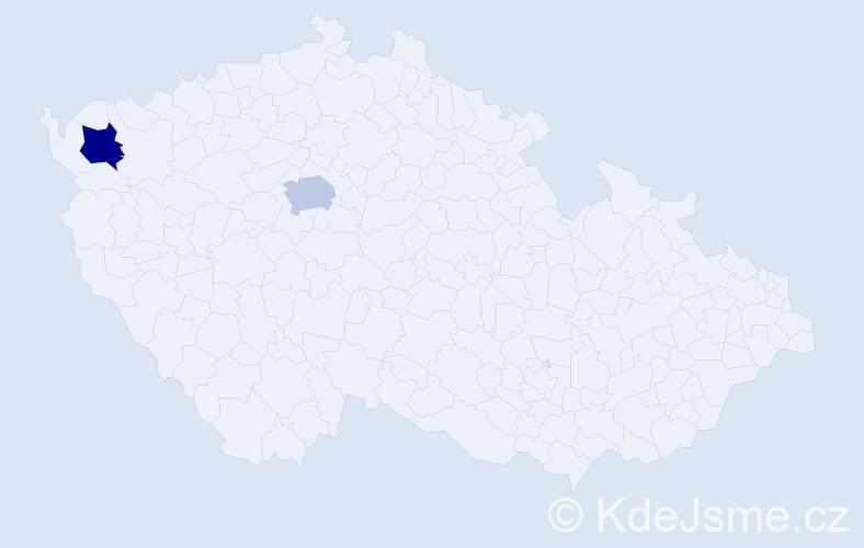 Příjmení: 'Cekovová', počet výskytů 8 v celé ČR