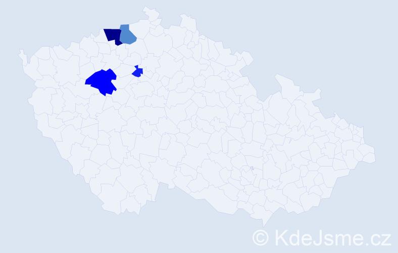 Příjmení: 'Durlín', počet výskytů 9 v celé ČR