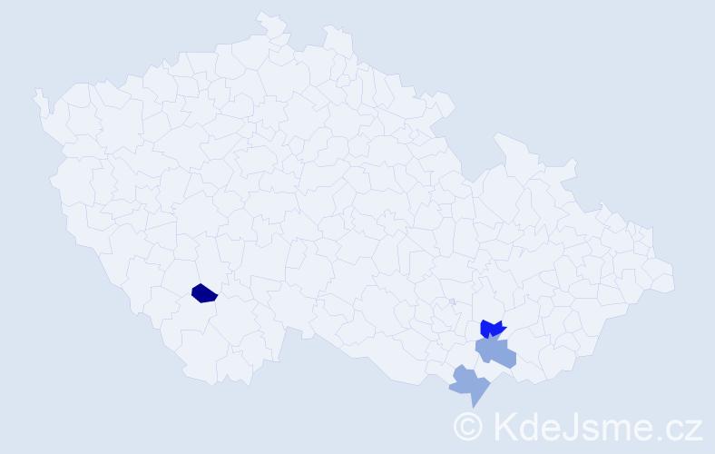Příjmení: 'Kastingerová', počet výskytů 4 v celé ČR