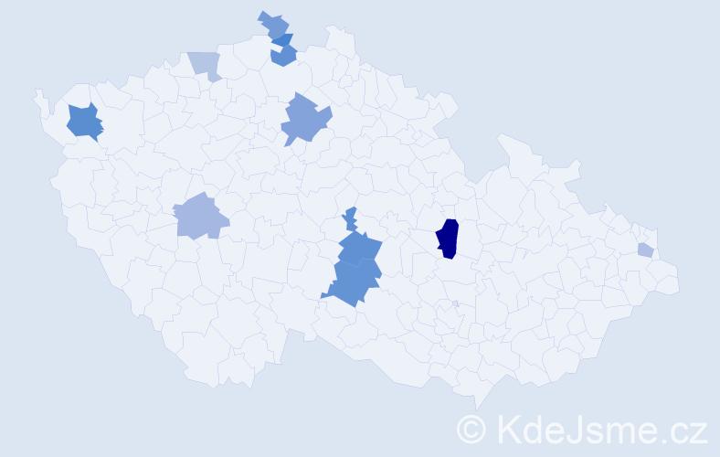 Příjmení: 'Krajmer', počet výskytů 19 v celé ČR