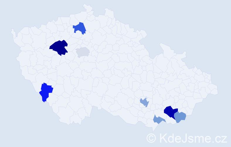 Příjmení: 'Kadarová', počet výskytů 17 v celé ČR