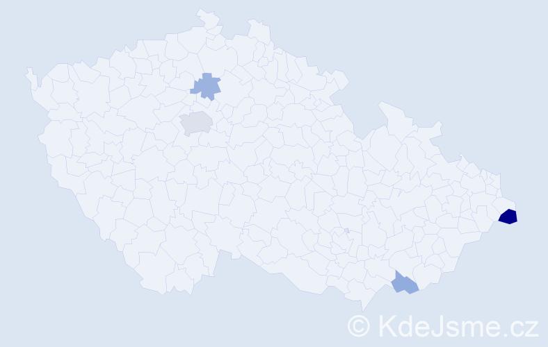 Příjmení: 'Genčevová', počet výskytů 9 v celé ČR