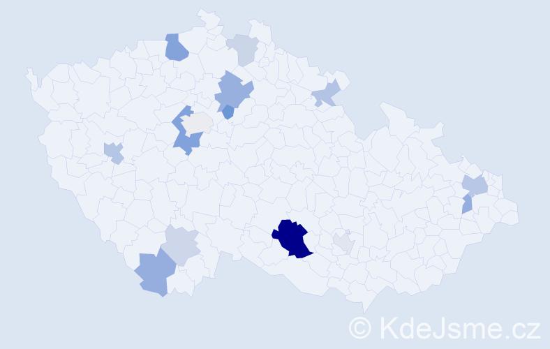 Příjmení: 'Čierna', počet výskytů 30 v celé ČR