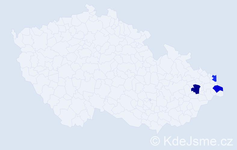 Příjmení: 'Ištvanfy', počet výskytů 3 v celé ČR
