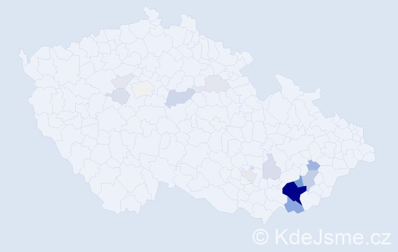 Příjmení: 'Bajaja', počet výskytů 49 v celé ČR