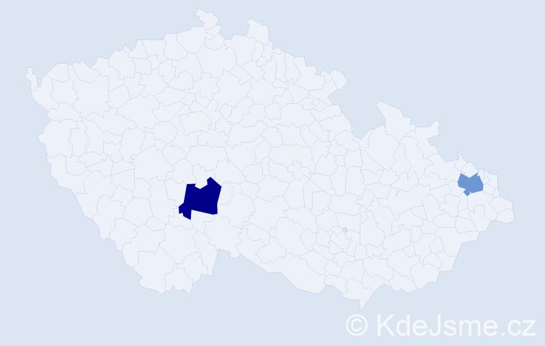 """Příjmení: '""""Daňková Kučerová""""', počet výskytů 2 v celé ČR"""