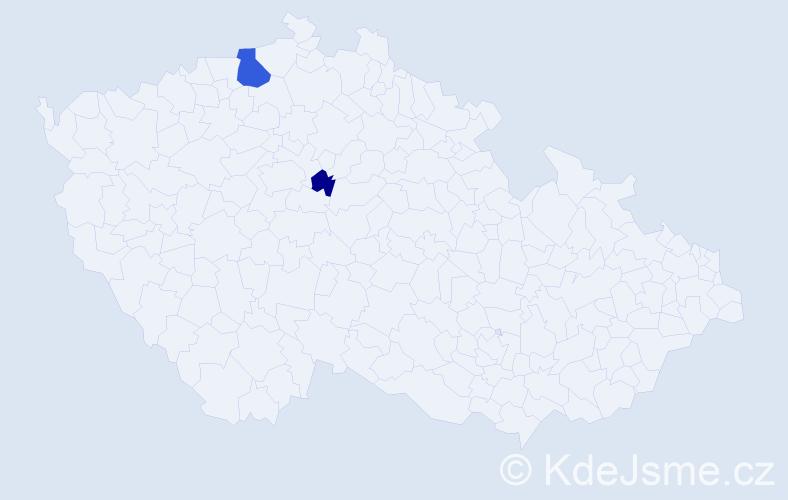 Příjmení: 'Chybná', počet výskytů 4 v celé ČR