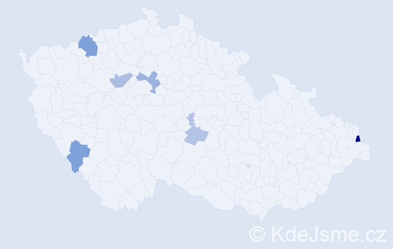 Příjmení: 'Izsáková', počet výskytů 13 v celé ČR