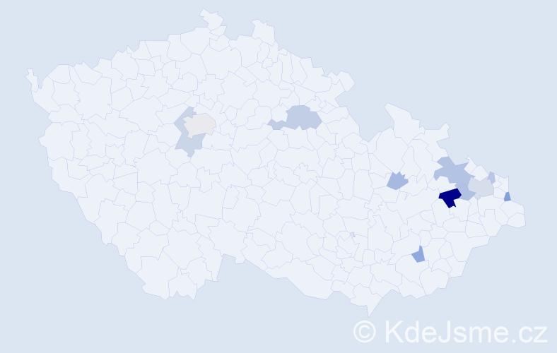 Příjmení: 'Egyedová', počet výskytů 26 v celé ČR