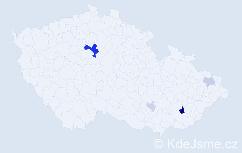 Příjmení: 'Hilton', počet výskytů 7 v celé ČR