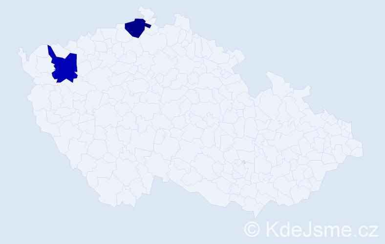 Příjmení: 'Jachimstál', počet výskytů 2 v celé ČR