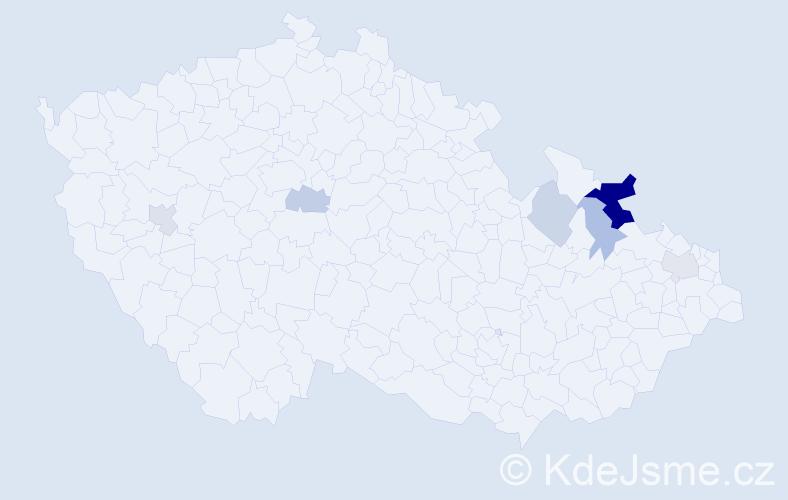 Příjmení: 'Barčuková', počet výskytů 13 v celé ČR