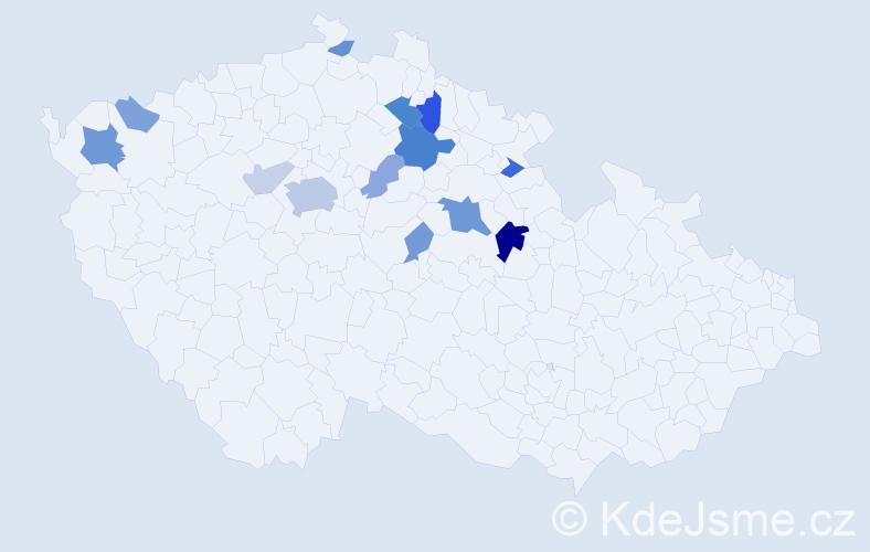 Příjmení: 'Končinský', počet výskytů 33 v celé ČR