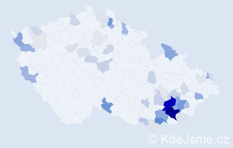 Příjmení: 'Churá', počet výskytů 189 v celé ČR