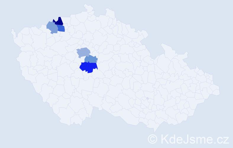 Příjmení: 'Hevler', počet výskytů 14 v celé ČR
