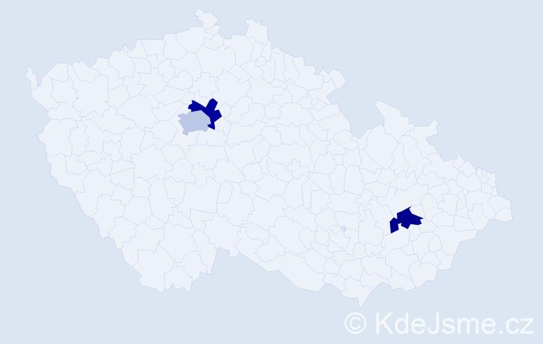 Příjmení: 'Kyndr', počet výskytů 3 v celé ČR