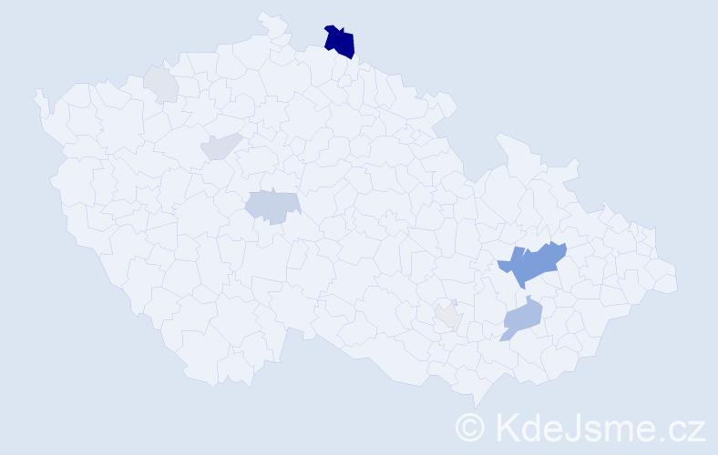Příjmení: 'Čečatka', počet výskytů 36 v celé ČR
