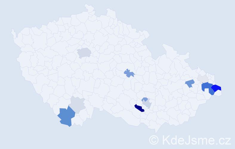 Příjmení: 'Čarvaš', počet výskytů 37 v celé ČR