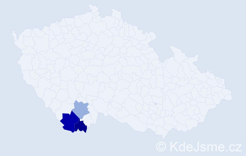 Příjmení: 'Galeštoková', počet výskytů 4 v celé ČR