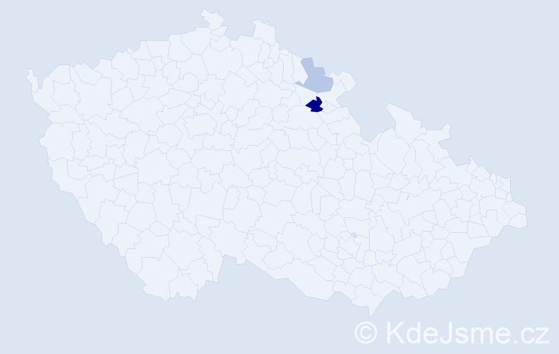 Příjmení: 'Innertová', počet výskytů 7 v celé ČR