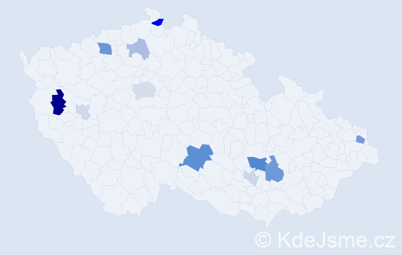 Příjmení: 'Hlaváčiková', počet výskytů 27 v celé ČR