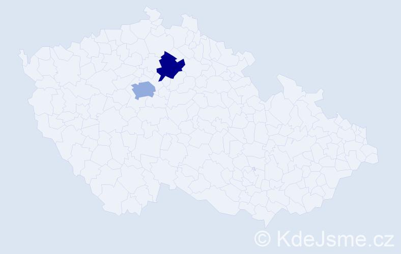 Příjmení: 'Fejérová', počet výskytů 5 v celé ČR