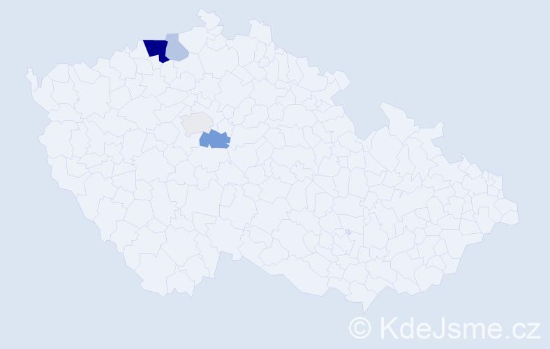 Příjmení: 'Huša', počet výskytů 22 v celé ČR