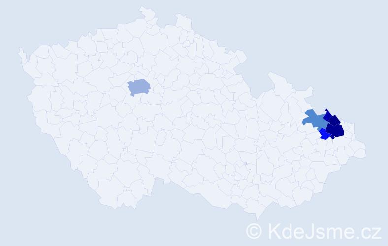 Příjmení: 'Bedrlík', počet výskytů 22 v celé ČR