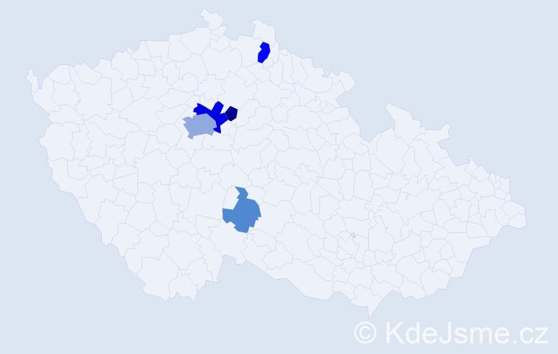 Příjmení: 'Gecko', počet výskytů 13 v celé ČR