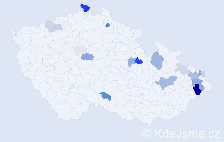 Příjmení: 'Kardašová', počet výskytů 38 v celé ČR