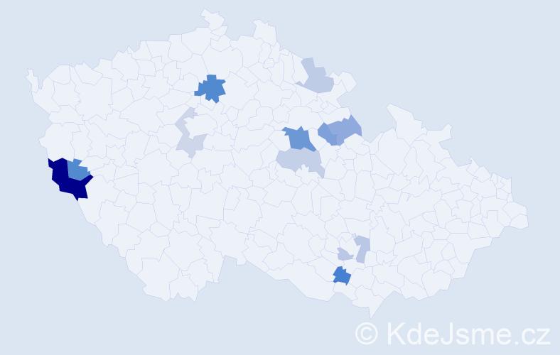 Příjmení: 'Kincler', počet výskytů 22 v celé ČR