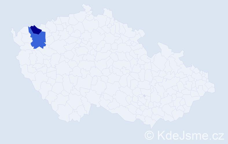 Příjmení: 'Huczmanová', počet výskytů 5 v celé ČR